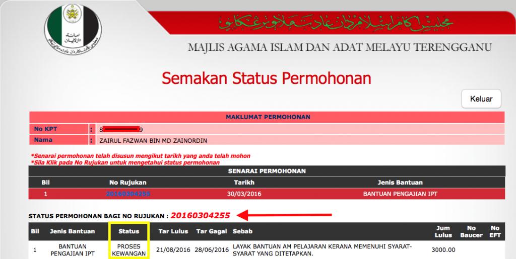 MAIDAM - Bantuan Pengajian IPT Zairul - LULUS - Update 23082016